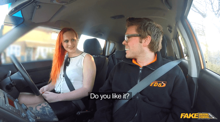 FakeDrivingSchool : Tattooed redhead craves a big cock – Chloe Davis